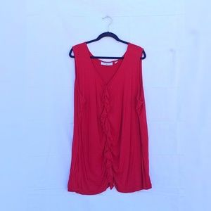 Red Ruched Sleeveless Ruffle Tank